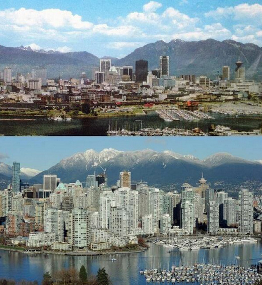 A panorama shot of Burrard Inlet, how Vancouver was transformed from the 1970s til 2014