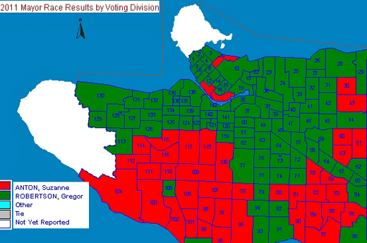 2011 Mayoralty Race Vancouver Voting Map