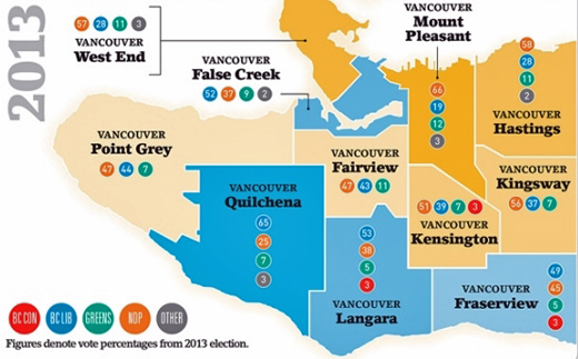 2013 British Columbia Provincial Election Vancouver Voter Map