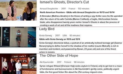 15 Films Screening at New York's Film Festival are also screening at Vancouver's Film Festival