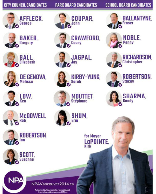 2014 NPA Slate of Candidates for Office in the Vancouver Municipal Election