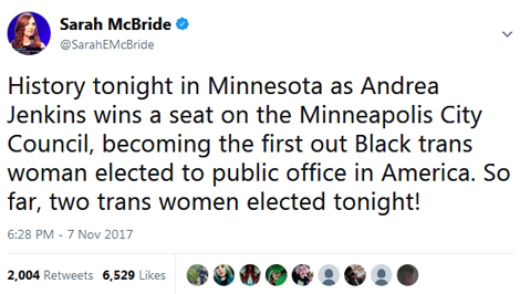 Andrea Jenkins won a seat on the Minneapolis City Council, becoming the first out Black trans woman elected to public office in America