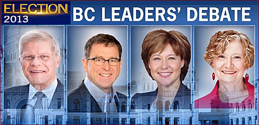 BC Leaders' Debate 2013, televised province-wide tonight, 6:30pm-8pm