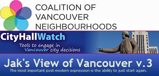 Coalition of Vancouver Neighbourhoods, CityHallWatch, Jak's View