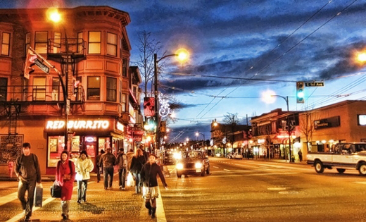 Commercial Drive at 1st Avenue, in Vancouver's Grandview-Woodland neighbourhood