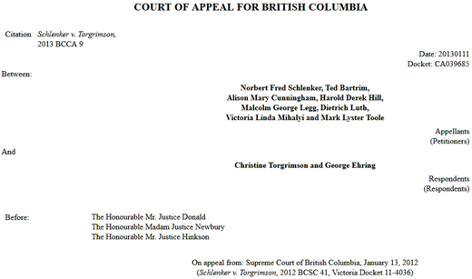 Schlenker v. Torgrimson, BC Court of Appeals, 2013 - Councillor Conflict of Interest