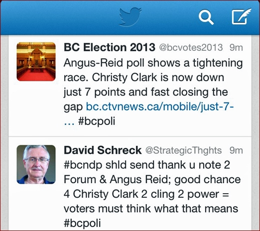 Pundit David Schreck tweets on BC Election