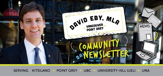 BC NDP Cabinet Minister David Eby's October 2017 Newsletter to his constituents