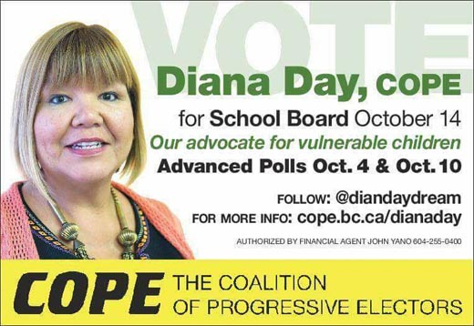Diana Day, Coalition of Progressive Electors candidate for the Vancouver School Board