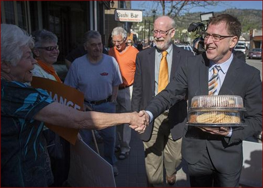 Adrian Dix, BC NDP leader, campaigning in Penticton with candidate Richard Cannings