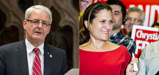 Marc Garneau and Chrystia Freeland, two certain Trudeau cabinet appointees