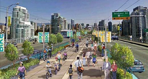 Proposed Granville Street bridge pedestrian and bike lanes, as imagined by Vision Vancouver