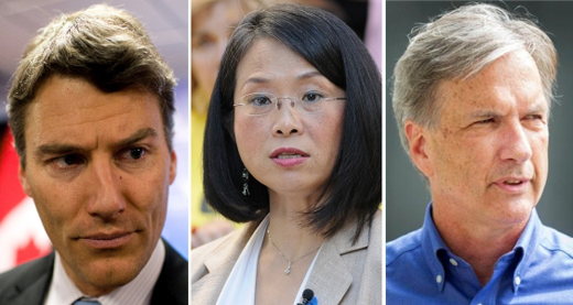 Gregor Robertson, Meena Wong, Kirk LaPointe, candidates for Mayor of Vancouver