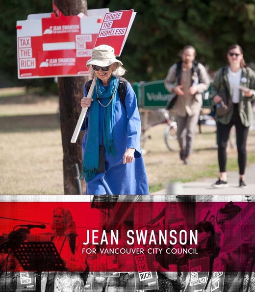 Independent 2017 by-election Council candidate Jean Swanson almost emerges as victor