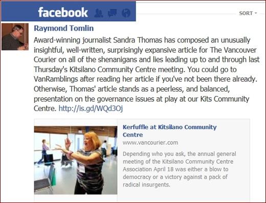 Kitsilano Community Centre AGM, Sandra Thomas in the Vancouver Courier