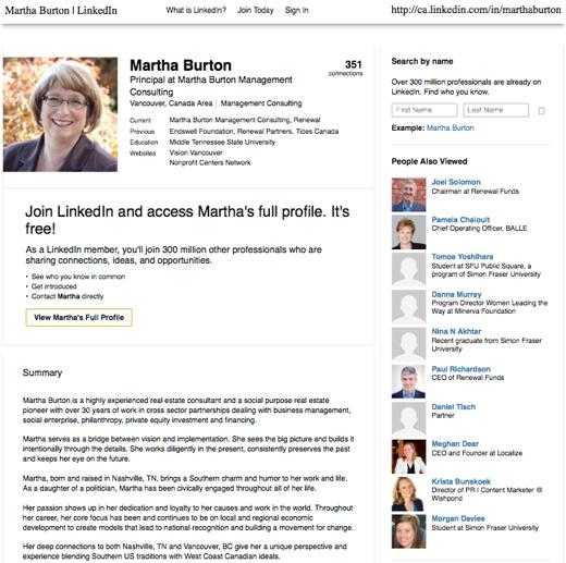 Martha Burton, Vision Vancouver Board of Directors, LinkedIn profile