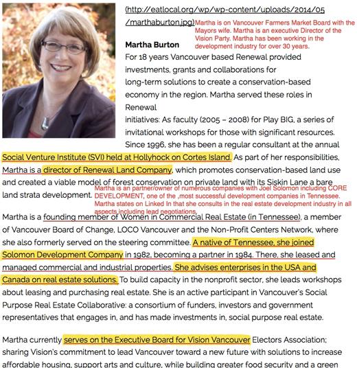 Martha Burton, Vision Vancouver Board of Directors