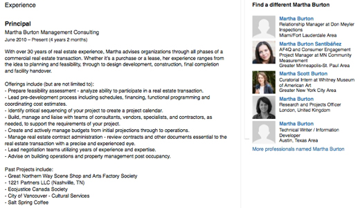 Martha Burton, Vision Vancouver Board of Directors, LinkedIn profile, Experience category