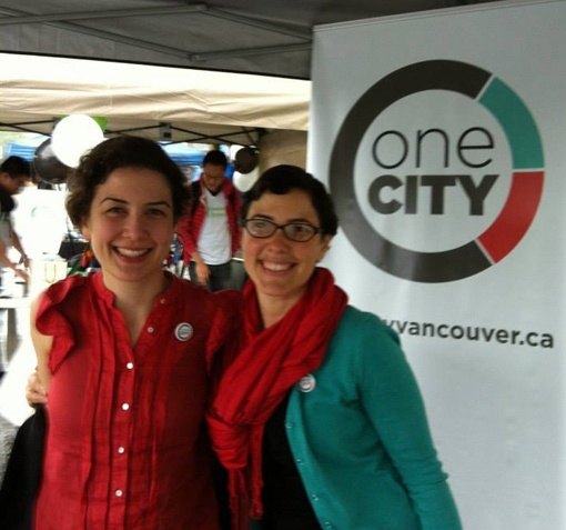 Mia Edbrooke and Kyla Epstein of One City Vancouver, two of the seven women who released the statement 'Meeting Courage with Courage: Valuing Women's Lives in Politics'