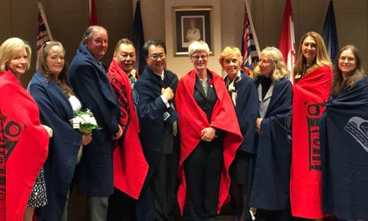 Newly-elected Vancouver School Board trustees take office at an inauguration ceremony