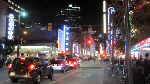 Granville Street at night, 30th annual Vancouver International Film Festival
