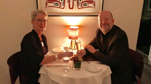 Shirley Ross and Bill Tieleman celebrate their 25th wedding anniversary at Bishops Restaurant