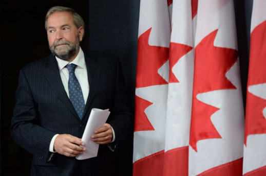 NDP leader Tom Mulcair in his first post-election press conference