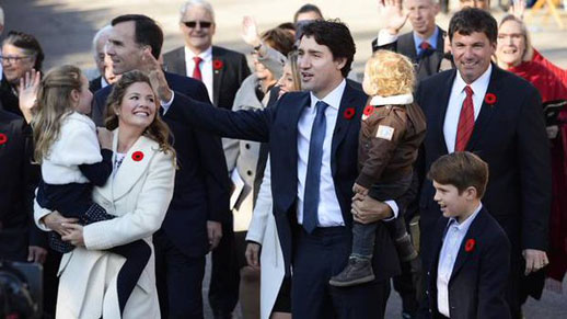 Justin Trudeau and his family at the inauguration of his government