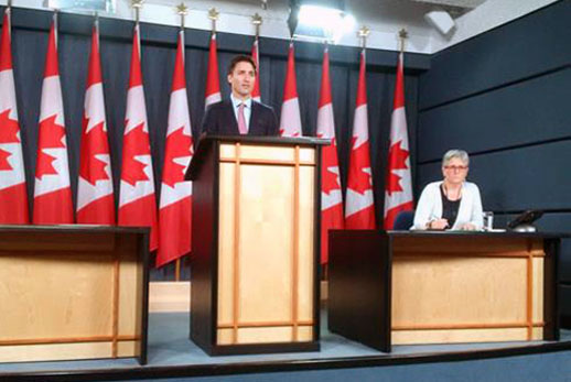 Prime Minister-designate Justin Trudeau holds a press conference in the Parliamentary Press Theatre, the first such press conference in eight years