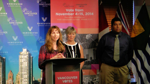 Vancouver Civic Election 2014, Voting Day Saturday, November 15th