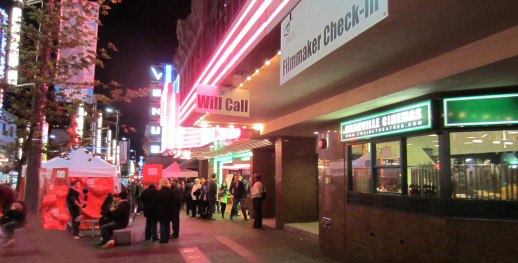 Vancouver International Film Festival outside the Empire Granville 7 at night