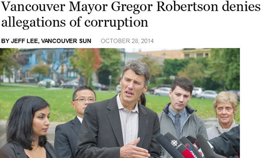 Vision Vancouver Mayor Gregor Robertson Denies Allegations of Corruption