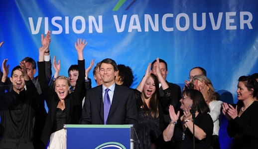 Vision Vancouver wins a second majority term in 2011